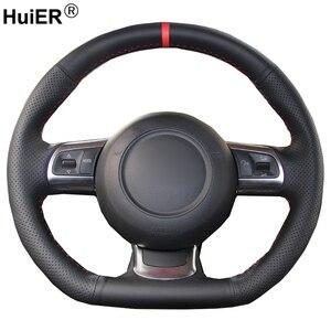 HuiER Hand Sew Car Steering Wheel Cover For Audi TT TTS (8J) 2006-2013 2014 A3 S3 (8P) Sportback 2008-2010 2011 2012 R8 (42)