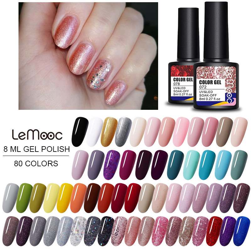 Gel Nail Polish Colors 8ml Soak Off Semi Permanant UV Varnish DIY Nail Art Decoration Colorful Nail UV Gel For Nails