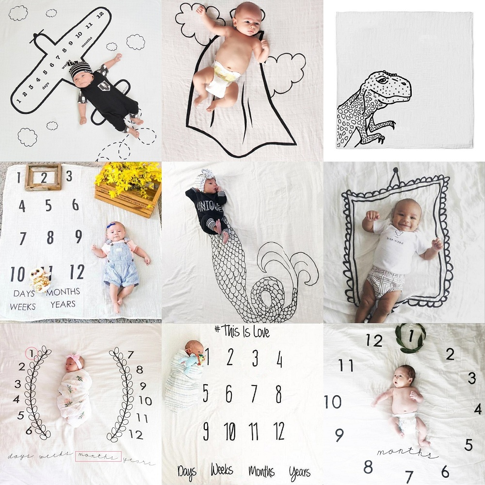 9 Styles Cartoon Lovely Multi-function Baby Play Mats Infant Portray Blanket Bath Towel Nordic Kids Bed Room Decor Photo Props