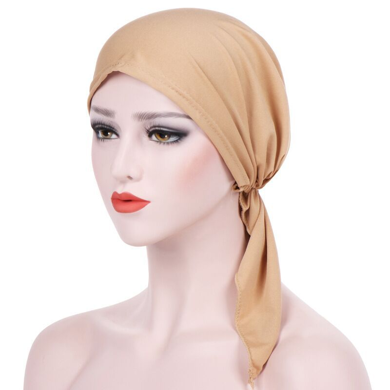 2018 Women India Hat Muslim Ruffle Cancer Chemo Beanie Scarf Turban Two Tail Wrap Cap daily wear solid Freeshipping
