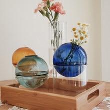 INS Style Glass Vase Hydroponics Colorful Round Vase Nordic Home Decor Living Room Decoration Mini Glass Vases Tabletop Decor