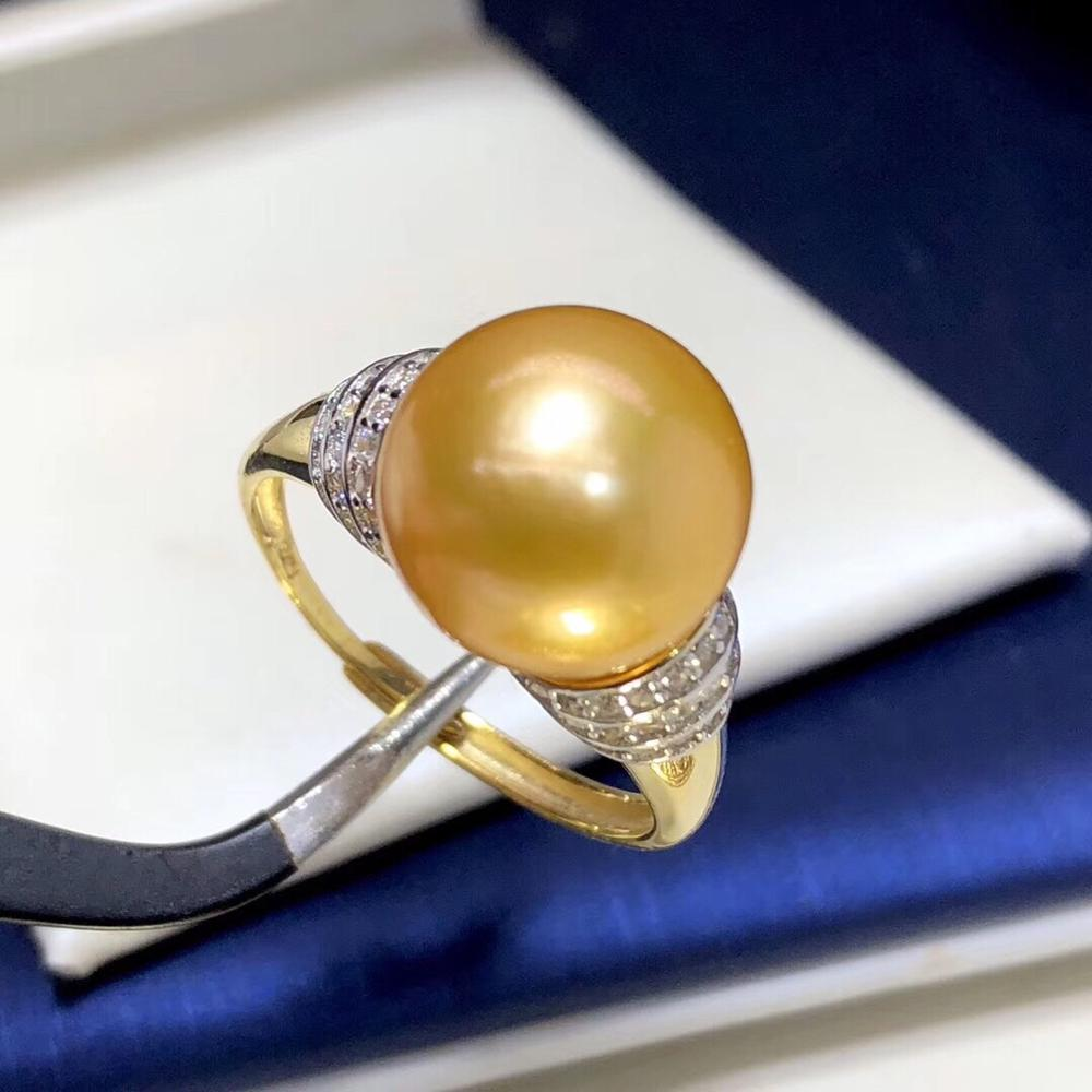 Fine Jewelry 925 Sterling Silver Natural Fresh Water 11mm Golden Peals Rings for Women Fine Pearls Rings