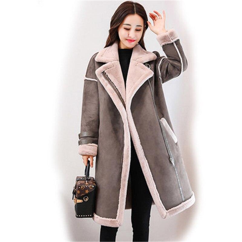 2019 зимняя женская замшевая кожаная куртка, Женская длинная куртка из оленьей кожи, шерстяная мотоциклетная куртка, толстая овечья шерсть, теплая парка на молнии, пальто XA68