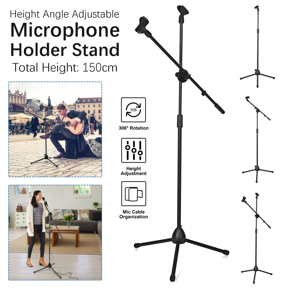 150cm Microphone Stand Holder Boom Arm Height Angle Adjustable With Tripod Base Universal Shockproof Mount Holder Mic Stand