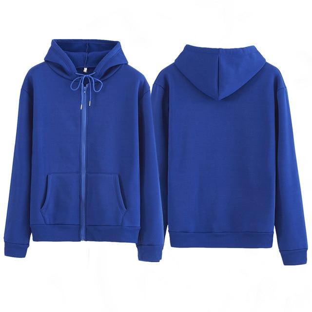 Women Sweatshirt Casual Solid Colors Oversized Full Zip-Up Hoodies Jacket 2020 Winter Velvet Thickening Warm Tops Long Sleeve 6