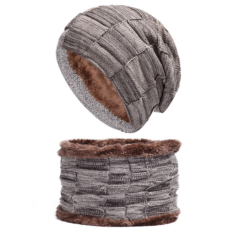 2Pcs/set Pure Color Plaid Warm Set Men New Fashion Simple Style Autumn Winter High Quality Thicken Plushed Knitted Scarf Caps