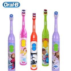 Oral b crianças escova de dentes elétrica para o miúdo 3 + design dos desenhos animados goma cuidados com cerdas macias à prova dwaterproof água aa alimentado por bateria 1 pc