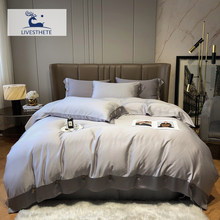 Liv-Esthete Women Star Gray 100% Silk Bedding Set Healthy Silky Duvet Cover Queen King Flat Sheet Pillowcase Bed Linen For Sleep