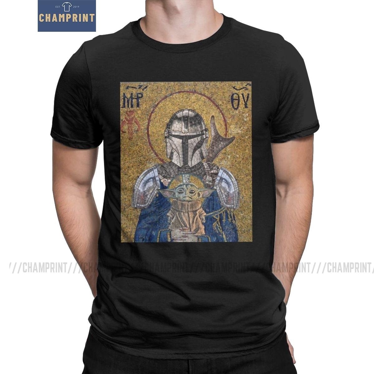 The Child Is My Religion T-Shirt Men The Mandalorian Baby Yoda T Shirt Star Wars Jedi Fett Cotton Tee Short Sleeve Plus Size Top