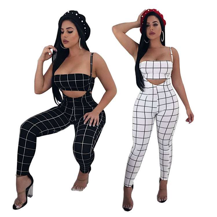 AliExpress 2019 New Style Europe And America Big Brand Fashion WOMEN'S Dress Casual Sports Plaid Pants Sexy Set