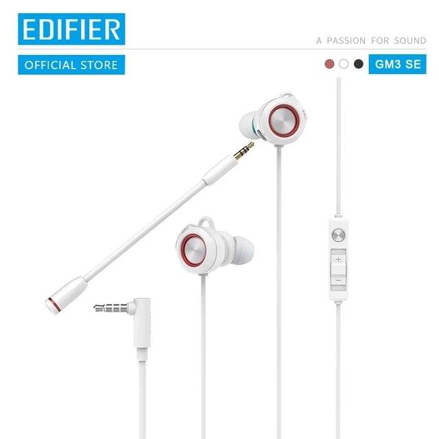 EDIFIER auriculares GM3SE para videojuegos, doble micrófonos, doble bobina móvil, posicionamiento acústico preciso, con forma de arco