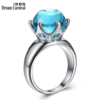 DreamCarnival 1989 Brand New Special Cut Solitaire Wedding Ring for Women Light Blue Color Zirconia 6 Prawns Crown Look WA11498