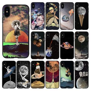 HTxian Trippy Art aesthetic Space astronaut Soft black Phone Case for iPhone 11 pro XS MAX 8 7 6 6S Plus X 5 5S se 2020 XR case image