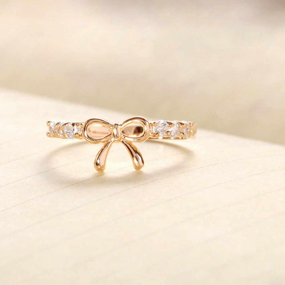 โบว์แหวนแบรนด์หรูผู้หญิงอุปกรณ์เสริมแฟชั่นเกาหลีเครื่องประดับคริสตัลแหวน moda mujer 2019 anillos mujer кольцо