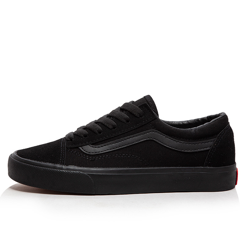 Lace Up Flat All Black Canvas Shoes Women Vulcanize Shoes Classic Men Skateboard Shoes Casual Sneakers Female Sport Shoes|Women's Vulcanize Shoes| - AliExpress