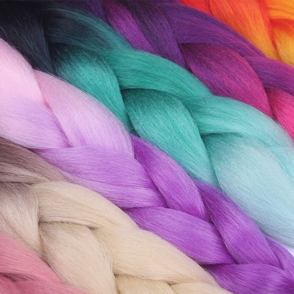 24 Inch Jumbo Braids Long Ombre Synthetic Braiding Hair Crochet Blonde Pink Blue Grey Hair Extensions African For Women TALESHE