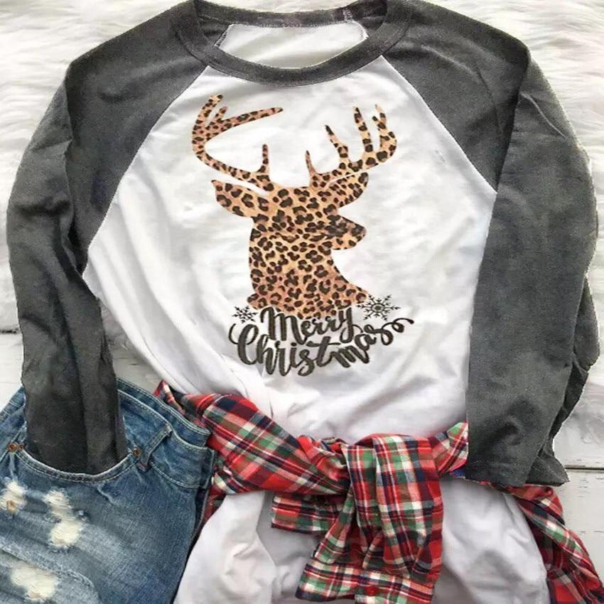Christmas Top Leopard Elk Print T Shirt Women Long Sleeve Tops Tee Shirts Merry Christmas Tees 2019 New Raglan Sleeve T-shirt
