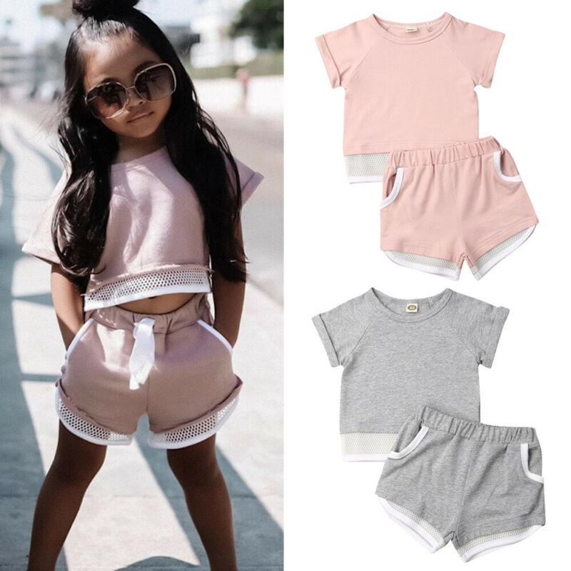 Fashion New Summer Toddler Baby Girls Boys Outfits Tracksuit Clothes Short Sleeve Tops T-Shirt Shorts Pants 2pcs Children Set
