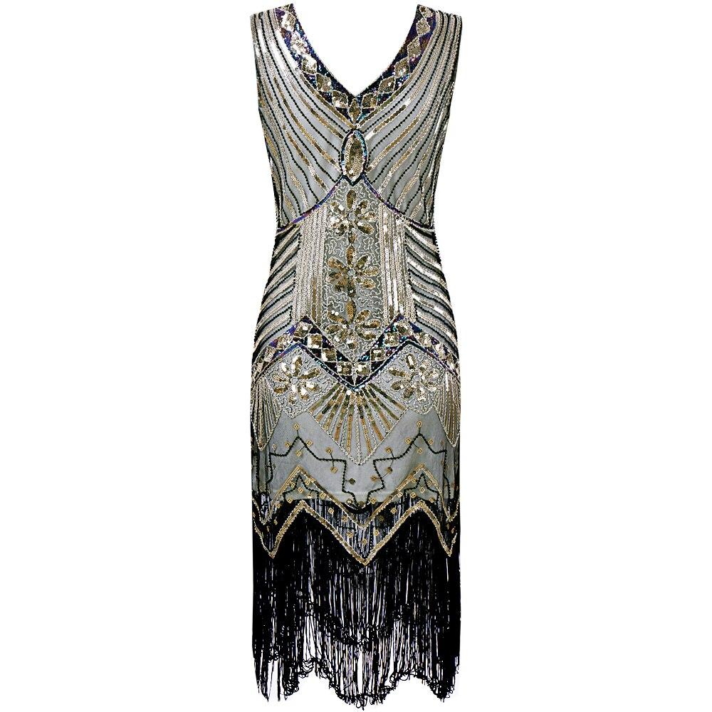 Robe à clapet pour femmes Art Nouveau grande robe à franges dames couture paillettes perlée robe de soirée Vintage