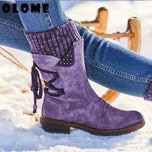 Damskie buty zimowe buty śniegowe damskie ciepłe buty oryginalne skórzane buty śnieżne zimowe buty damskie do połowy łydki damskie buty na platformie tanie tanio OLOME Platforma Stałe W-XZ016 Dla dorosłych Plac heel Buty śniegu Krótki pluszowe Okrągły nosek Zima RUBBER Niska (1 cm-3 cm)