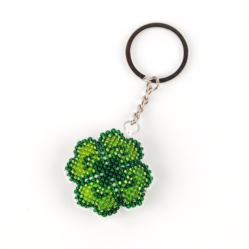 4.5cm Four-leaf Clover DIY Beads Toys Handmade Embroidered Cross-stitch Keychain Handicrafts Kit Kids Adult Girl Gift Toy NEW