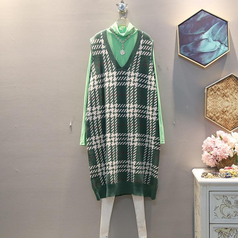 XITAO Plaid Straight Casual Knitted Dress Women Sleeveless 2019 Winter Korean New Style Elegant V Neck Collar Loose DMY1324 24