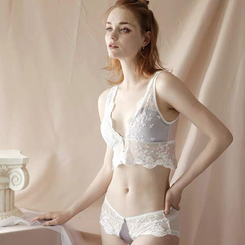 Anlito branco triângulo copo sutiã sexy rendas gaze bralette bordado roupa interior conjunto sutiã plus size lingerie calcinha define 3 colo