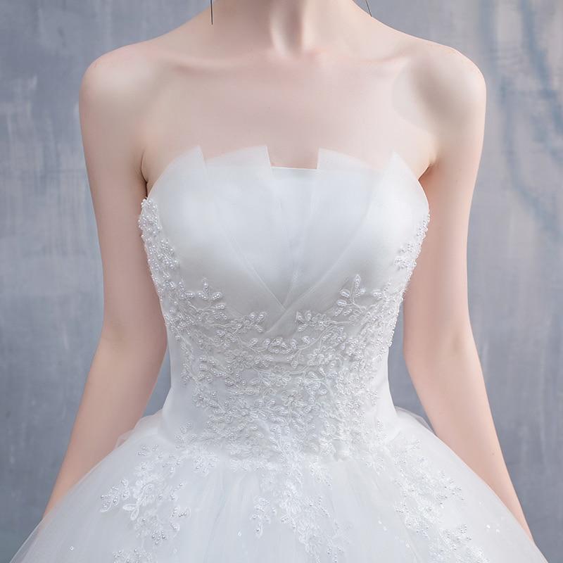 Robe De Mariee New Wedding Dresses Strapless Appliques Pearls Lace Fashion Wholesale Cheap Simple Bride Dress Vestidos De Novia 1