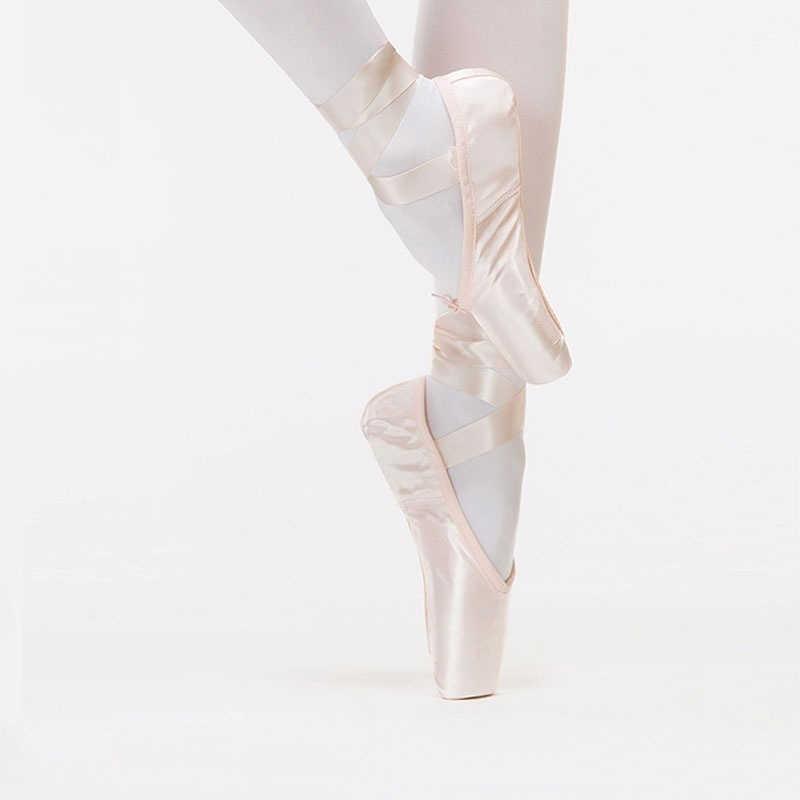 Professional ริบบิ้นรองเท้าเด็กนักแสดง Pointe รองเท้าผู้หญิงสีชมพูบัลเล่ต์แบนเต้นรำ Pointe รองเท้า