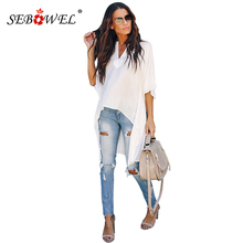 SEBOWEL Chic White High Low Kimono Tops for Women Solid Sexy V-Neck Loose Plus S