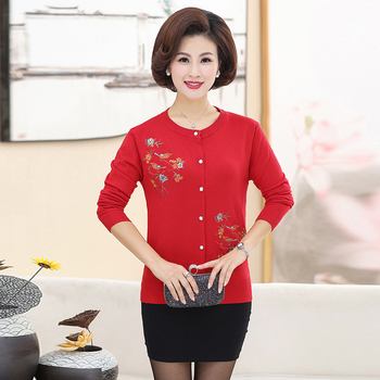 цена на Spring Woman Cardigan Sweater Red Purple Navy Blue Camel Gray Flower Embroidery Sweaters Women O-neck Button Knitwear Spring New