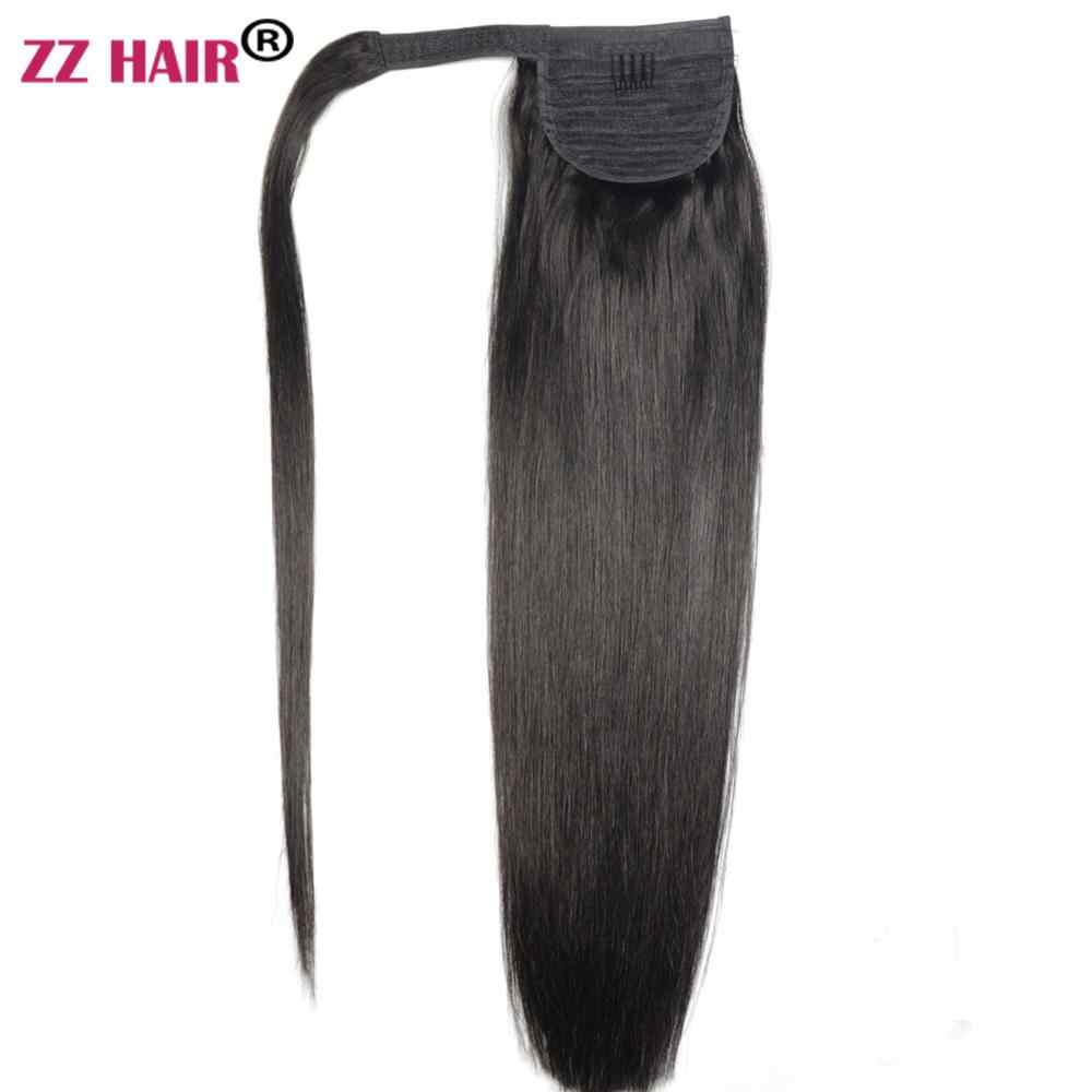 "ZZHAIR 120g 16 ""-28"" Machine Gemaakt Remy Haar Magic Wrap Around Paardenstaart Clip In 100% Human hair Extensions Paardenstaart Stragiht"