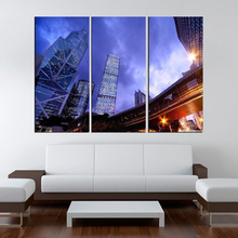 Modern Colorful Photo Picture City At Dusk Room Decor 3 Pcs Cities Canvas Art Painting Living Bedroom