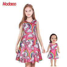 Matching Dolls & Girls Dress,A-Line Skater Twirly Sparkly Casual Sleeveless Dressses for Kids,Print Stretchy 18