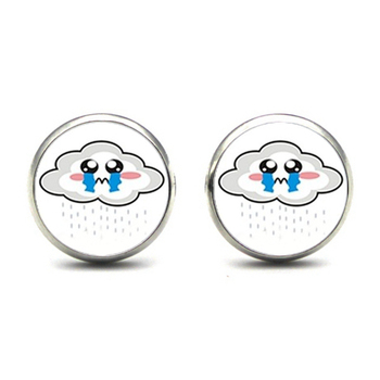 New Arrival cloudy day Rainbow and Rain cry Earrings rain Cartoon Rainbow and Cloud Glass Dome Funny Stud Earrings Wholesale image