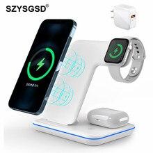 3 in 1 15W Qi kablosuz şarj için iPhone 12 11 XS XR X 8 Samsung S20 hızlı şarj apple Watch standı için 5 4 3 Airpods Pro