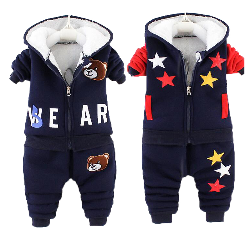 Winter Baby Boys Clothing Sets 2021 Cartoon Toddler Boys Girls Warm Hooded Coats Pants Suit Kids Thick Tracksuit Clothes Set 1