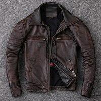 Neue Männer Rindsleder Mantel männer Echte Leder Jacke Vintage Stil Mann Leder Kleidung Motorrad Biker Jacken