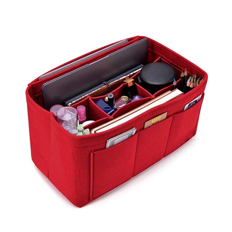 Women Felt Cosmetic Bag Handbag Organizer Insert Multifunctional Travel Makeup Organizer Inner Purse Fit Various Brand Bags