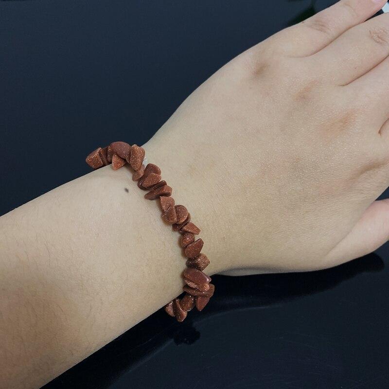 Reiki Healing Stone Strand Bracelets Wristband Raw Mineral Blue Goldstone Chips Stone Beads Meditation Jewelry Quartz Bracelets