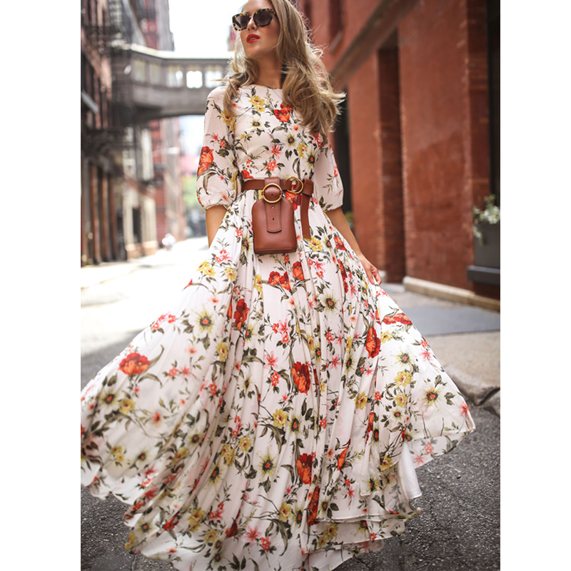 Spring Summer Fall Women's Boho Half-Sleeve Dress Ladies Elegant High Waist Print Party Gown Beach Sundress Fashion Clothes