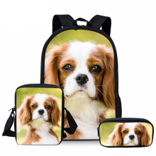NOISYDESIGNS Kids School Bags Girls Cute Cavalier King Charles Spaniel Dog Schoolbag Children 3pcs/set Primary Bookbag