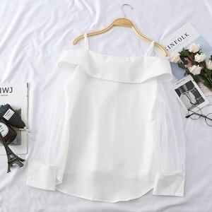Image 4 - HELIAR Blouse pour femmes, épaules dénudées, Blouse en Organza avec bretelles ajustables, Spaghetti, Transparent, boutons, automne 2020