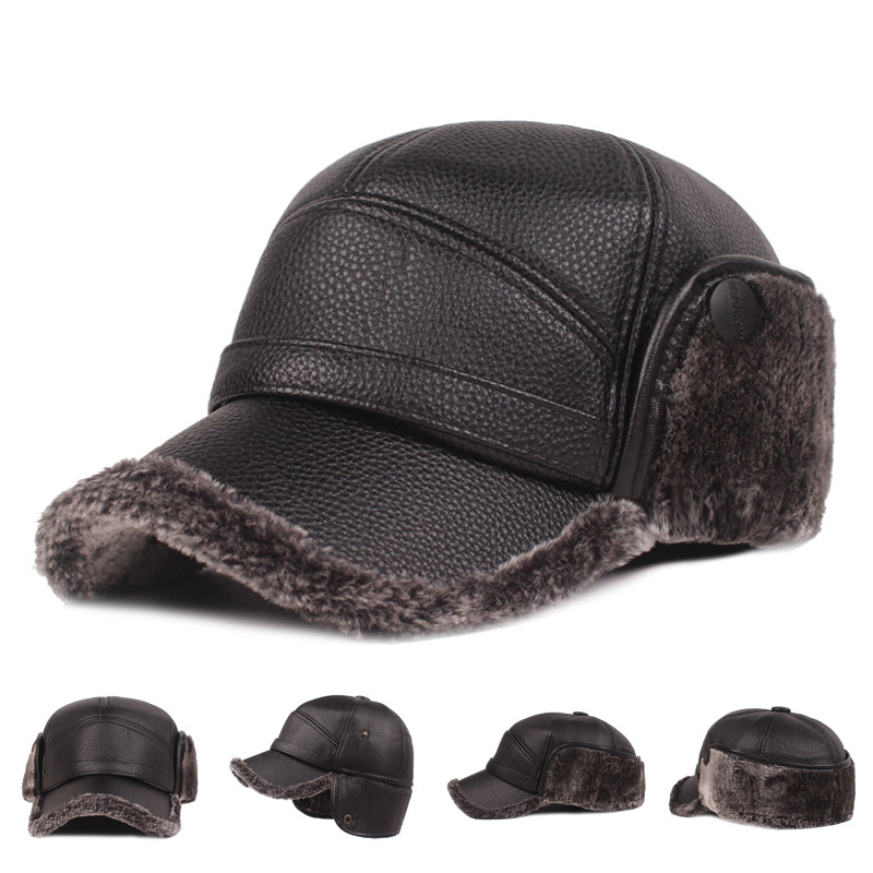 58cm Plus Plush Hat Old Man outdoor Hat winter warm Cap Classic Ear Protection Hat Middle-aged People Men Thick Leather Hat hot