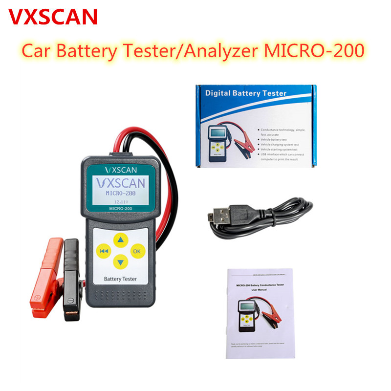 VXSCAN Car Battery Tester/Analyzer MICRO-200 MICRO 200 for 12 Volt Vehicles with Multilanguage(China)