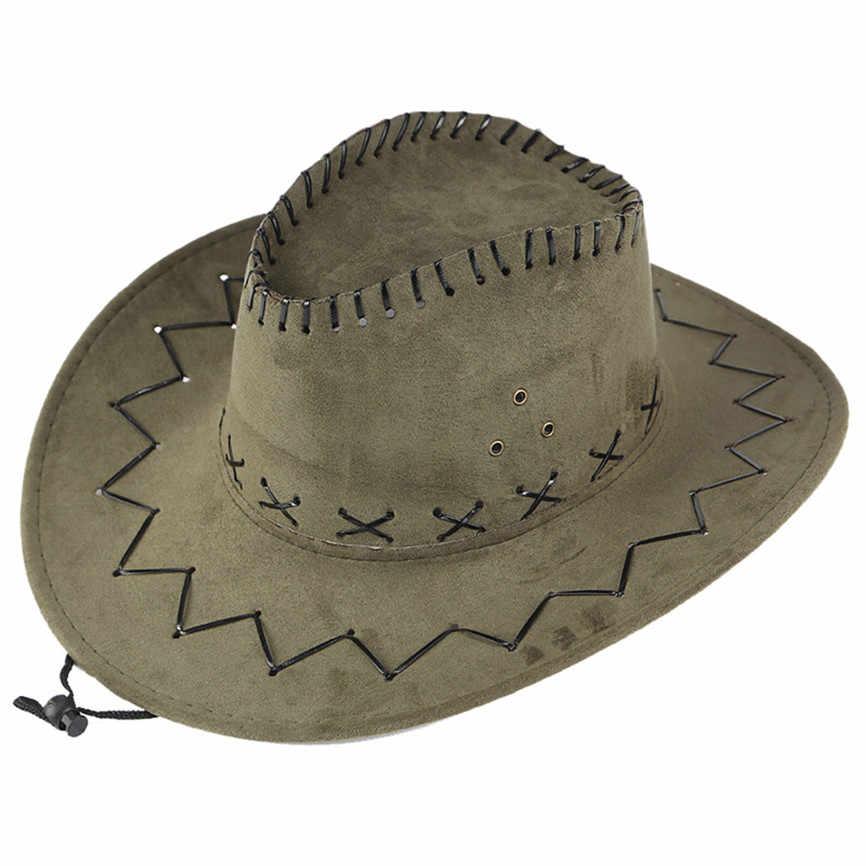Unisex erkek ve kadın kovboy şapkası geniş ağız düz renk kapaklar beyefendi rahat seyahat fantezi parti erkek kadın Cowgirl şapka kap