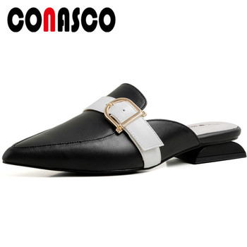 CONASCO 2020 Fashion Woman Pumps Women Sandals cow leather Summer metal decoration Casual pointed Toe Square Heels Shoes Woman