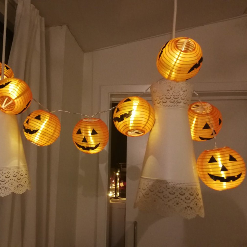 New Halloween Pumpkin Lantern LED Decorative Light String Horror Face Battery Decorative Light String Hangings Decoration