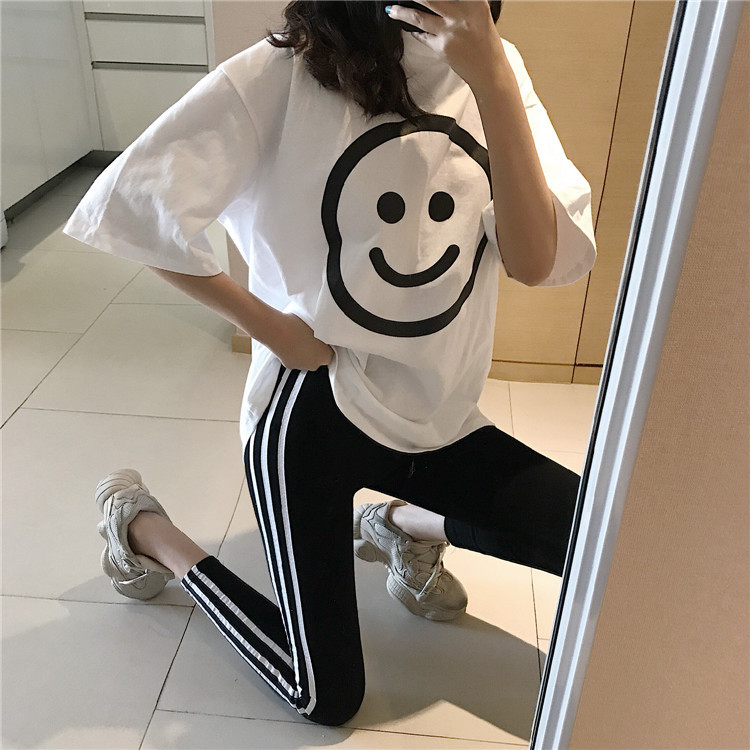 Spring And Summer New Style Korean-style Loose-Fit Large Smiley Short Sleeve T-shirt + Outer Wear Skinny Leggings Korean-style W
