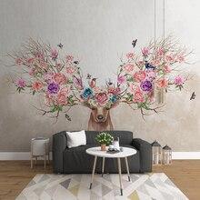от ветра и дождя блестели на заказ фреску 3D фото обои фэнтези лес лося цветы гостиная домашнего декора цветок фрески для спальня
